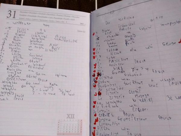 mój notatnik z listą zakupów do szkoły