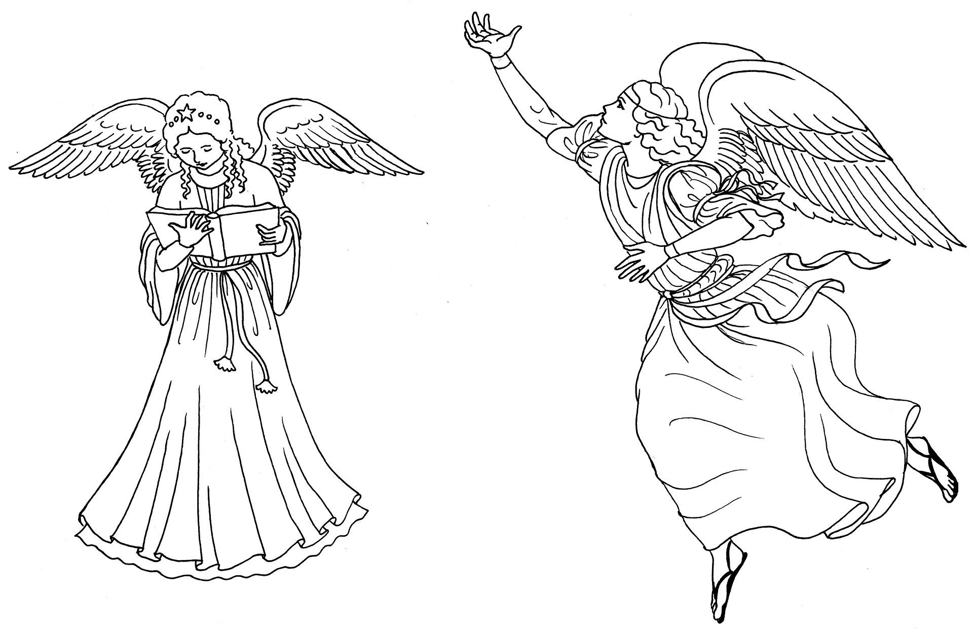 Rysunki świąteczne dla dzieci - aniołki